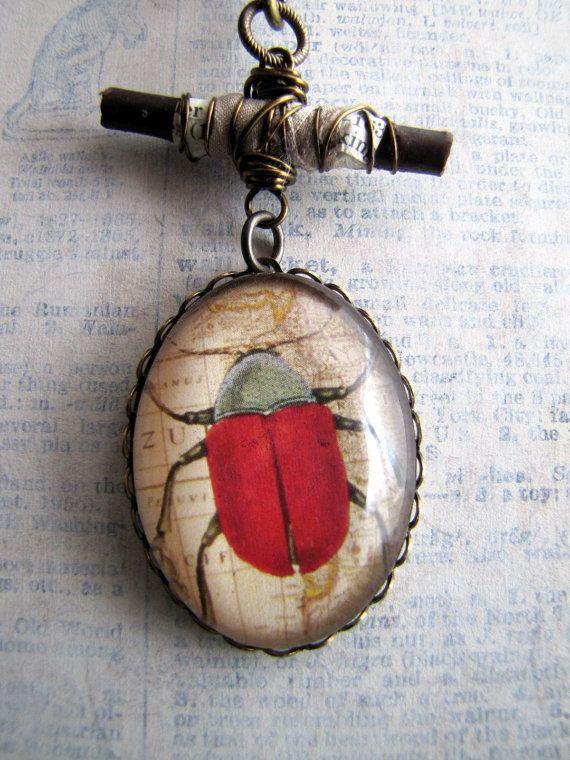 """Resilient"" Beetle Image Necklace by Amanda Davie"