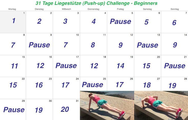 31 Tage #Liegestütze Challenge für Frauen. Muskulatur Kraft beim#Liegestütz:Deltamuskel,Dreiköpfiger Armstrecker,Kleiner + großer Brustmuskel,Stabilisierung:Rückenstrecker, Vierköpfiger Oberschenkelstrecker, Großer + kleiner Rautenmuskel,Vorderer Sägemuskel,Großer Gesäßmuskel,Gerader #Bauchmuskel. Auf dem Blog habe ich euch weitere Challenges verlinkt:30 Tage Ab Challenge für dein Sixpack,22 Tage Zucker Detox #Challenge,12 Tipps zum Muskeln aufbauenuvm