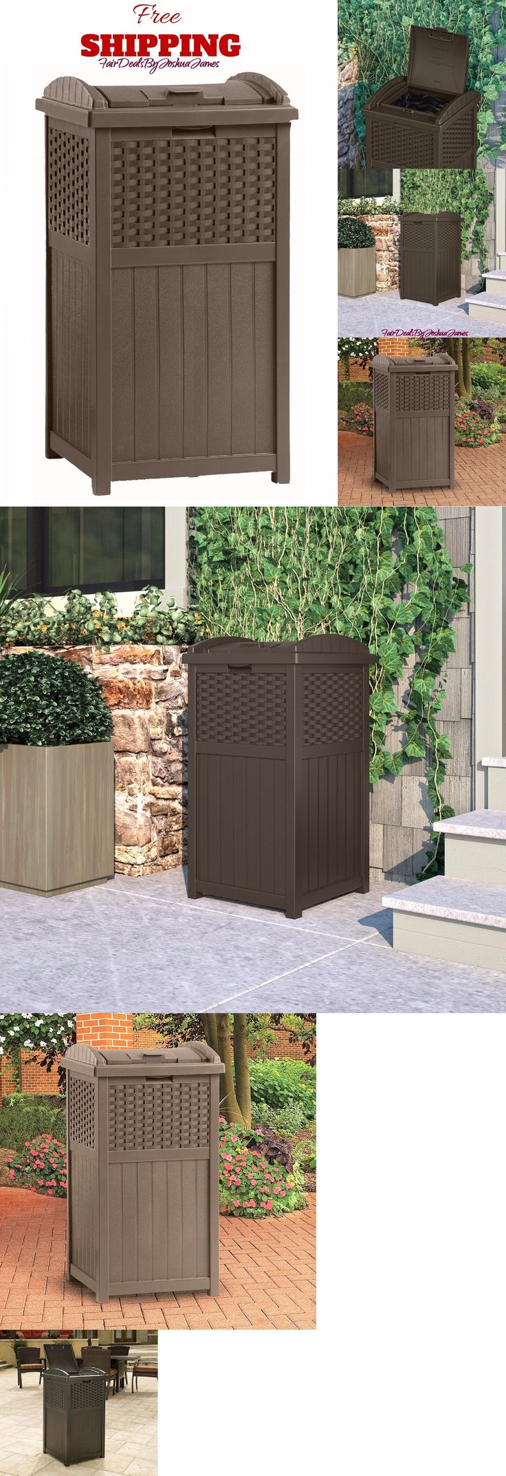 Trash Cans And Wastebaskets 20608: Home Outdoor Patio Trash Can Hideaway  Garden Decor Wicker Garbage