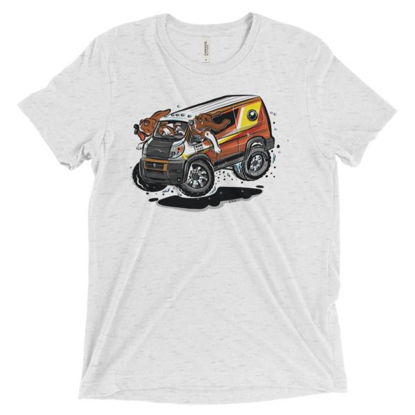 The hounds are loose in the Dodge Promaster custom van. High quality tee with hot rod cartoon Dodge Promaster and hounds driving.