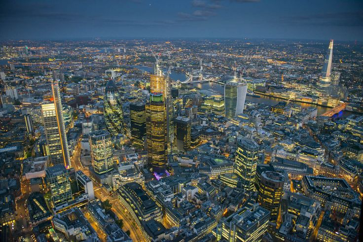 The City of London at night.  21 Dizzying Aerial Photos Of London