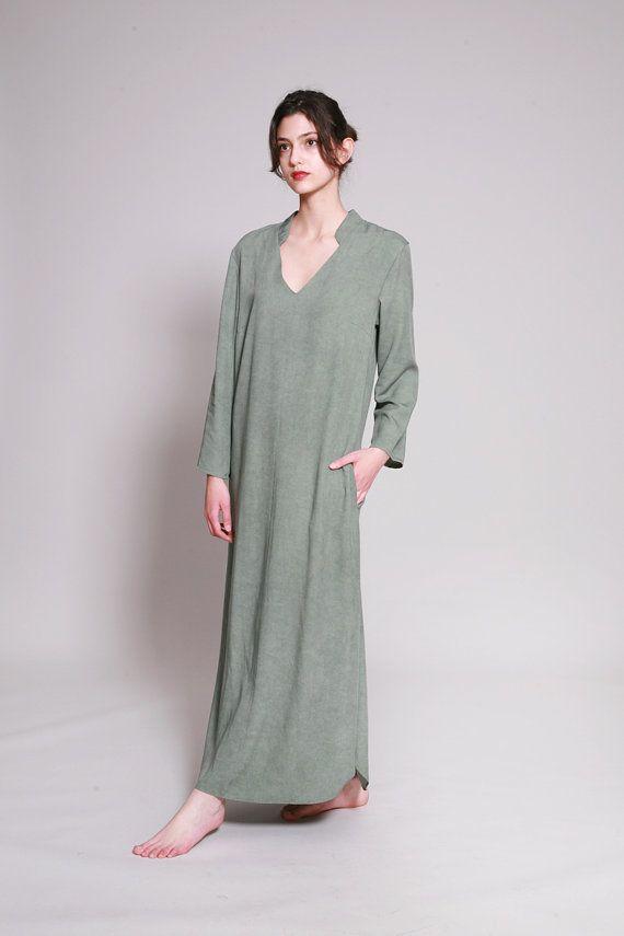 Kaftan groene Kaftan jurk Maxi Caftan Loose fit door dragonflyhm