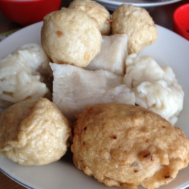 Pempek - traditional food from South Sumatera, Indonesia.  Main ingredients are fish and flour. Eat them with  a sour-sweet-spicy sauce.