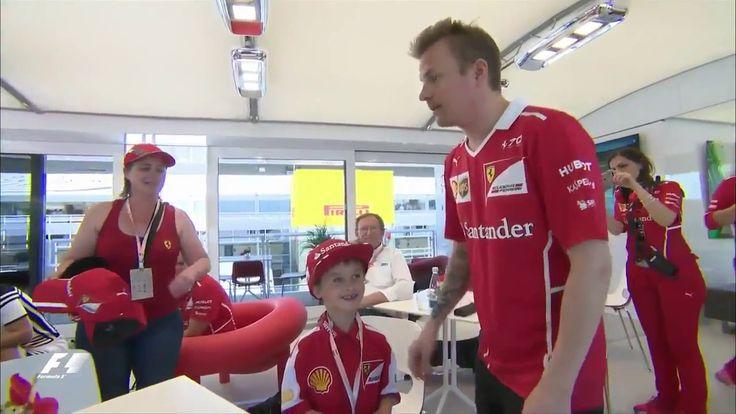 Kimi Raikkonen comforted a young fan at Spain Grand Prix 2017
