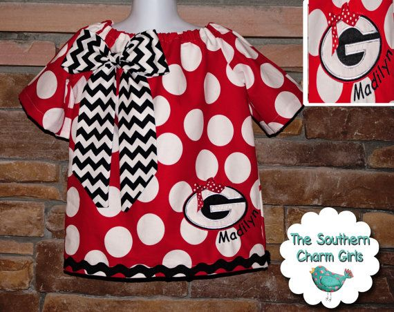 Georgia Bulldogs Game Day Peasant Dress. Made with jumbo polka dots and black chevron fabric bow.  So cute!!!