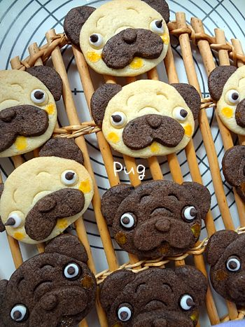 Black and fawn pug cookies!
