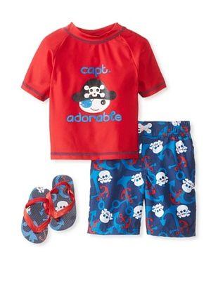 58% OFF Wippette Kid's 2-7 Captain Adorable Short & Rash Guard Set (Red)