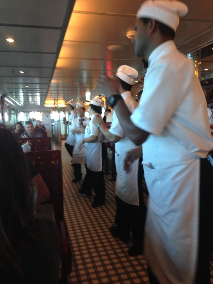 waiters dancing at Johnny Rockets .. hamburgers, onion rings, milkshakes .. what more could you want!