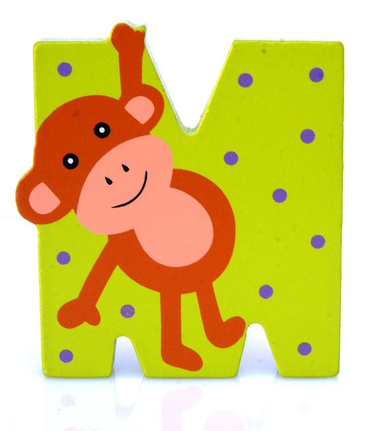 Simpatica lettera M in Legno con l'aspetto di una Scimmia, per decorare e rendere più bella la cameretta componendo nomi, frasi. Sono disponibili tutte le lettere dell'alfabeto  Può essere appoggiata su una mensola oppure si puo' fissare con colla o biadesivo o possono anche essere utilizzate per giocare.  Dimensioni cm 7 x 7 x 1  Materiale: Legno.   I colori possono cambiare in base alle disponibilita'