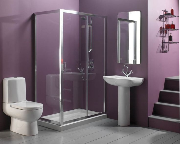 bathroom bathroom remodel and bathroom color ideas for purple bathroom with white toilet plus white washstand also wall mirror and glass shower plus grey