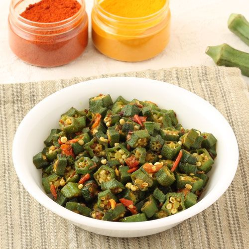 Stir Fried Okra - Stir Fried Bhindi with Garlic, Tomato and Basic Indian Spices - Dry Bhindi Curry - Easy Step by Step Recipe