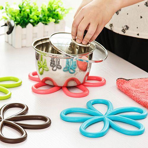 New Flower Shape PVC Anti-Slip Table Insulation Mat Heat Pad Kitchen Placemats 7MH5 #Affiliate