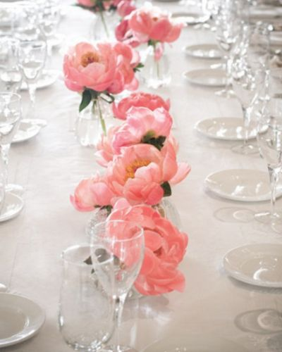 Pink peony wedding centrepiece http://www.wedbits.com/2013/06/ideas-for-wedding-centrepieces/
