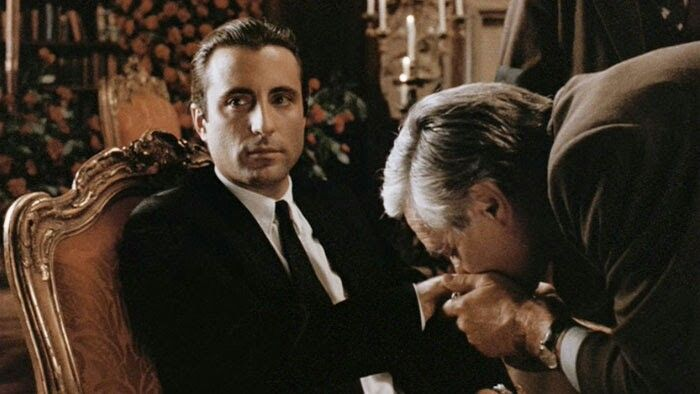 """Andy Garcia in The Godfather Part III as Vincent Corleone in the scene as he becomes the new Don taking over for an ailing Michael. Ok nephew, as you wish you will now be called """"Don Vincenzo Corleone."""""""