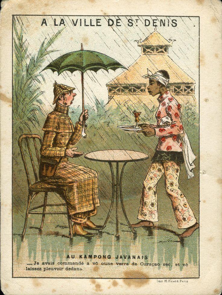 Al villaggio giavanese, 1889-90; su disegno di Jules Renard Draner; pubblicità grandi magazzini A la ville de St. Denis, Parigi; dalla serie di 24 figurine 'Scene comiche alle Esposizioni Universali di Parigi del 1889'