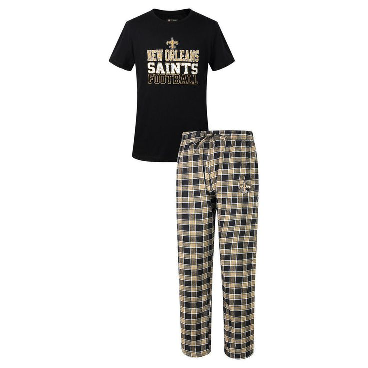 "New Orleans Saints NFL ""Medalist"" Men's T-shirt & Flannel Pajama Pants Sleep…"