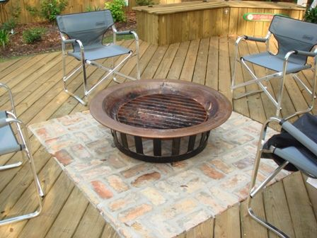 Fire Pit on Stone with Wood Deck