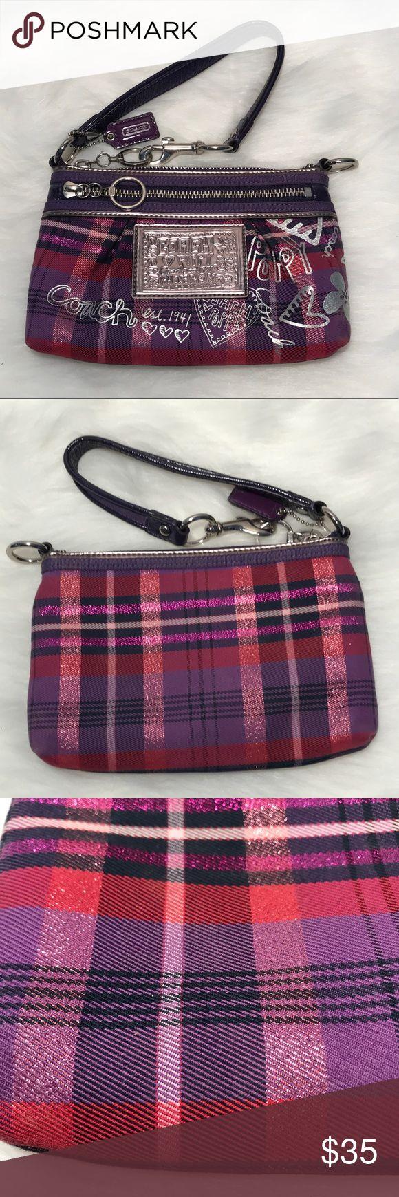 """Coach poppy purple plaid wristlet/shoulder bag Like new Coach poppy purple plaid wristlet/shoulder bag. 8 1/4x5 1/2"""". 2 zip openings. Coach Bags Clutches & Wristlets"""