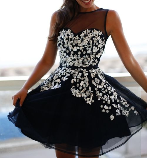 Black with white dress
