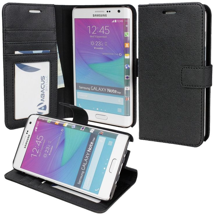 Note Edge Case, Abacus24-7 Note Edge Wallet Case [Book Fold] Leather Galaxy Note Edge Cover [Flip Cover] with Foldable Stand, Pockets for ID, Credit Cards - Black Flip Case for Samsung Note Edge