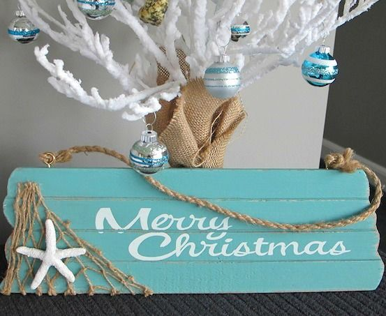 Beachy Merry Christmas Sign... http://www.beachblissdesigns.com/2016/11/merry-christmas-wood-sign.html 16 inches wood sign to brighten the sea-son!