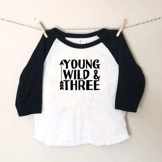 Young Wild & Three Toddler Raglan Tshirt  Three by EliandElvis