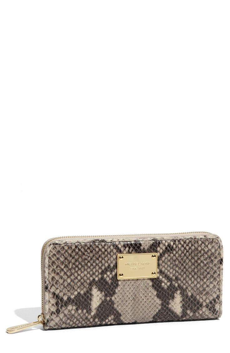 Free shipping and returns on MICHAEL Michael Kors \u0026#39;Jet Set\u0026#39; Snake Embossed Continental Wallet at A gleaming logo plates styles the front of a slim ...