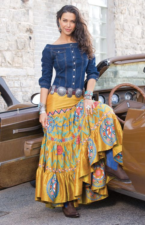 denim off the shoulder & long western skirt with cowgirl boots <3