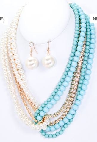 Color blocking is everywhere with clothing styles. Why not use 2 necklaces to create the same style, could be done with Premier Designs' Seabreeze  Wow Factor necklaces. To view my online catalog visit http://www.analovesjewelry.mypremierdesigns.com  Access code:  shine