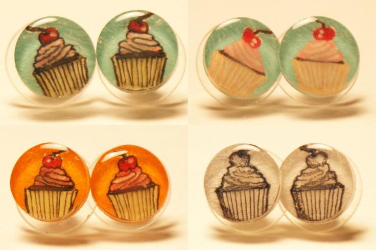 Small Cupcake Pair of Stud Earrings. $10.00, via Etsy.