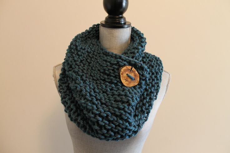 Dark Teal Blue Chunky Handmade Knit Knitted Cowl Scarf with Wooden Branch Button by FunkieFrocks on Etsy