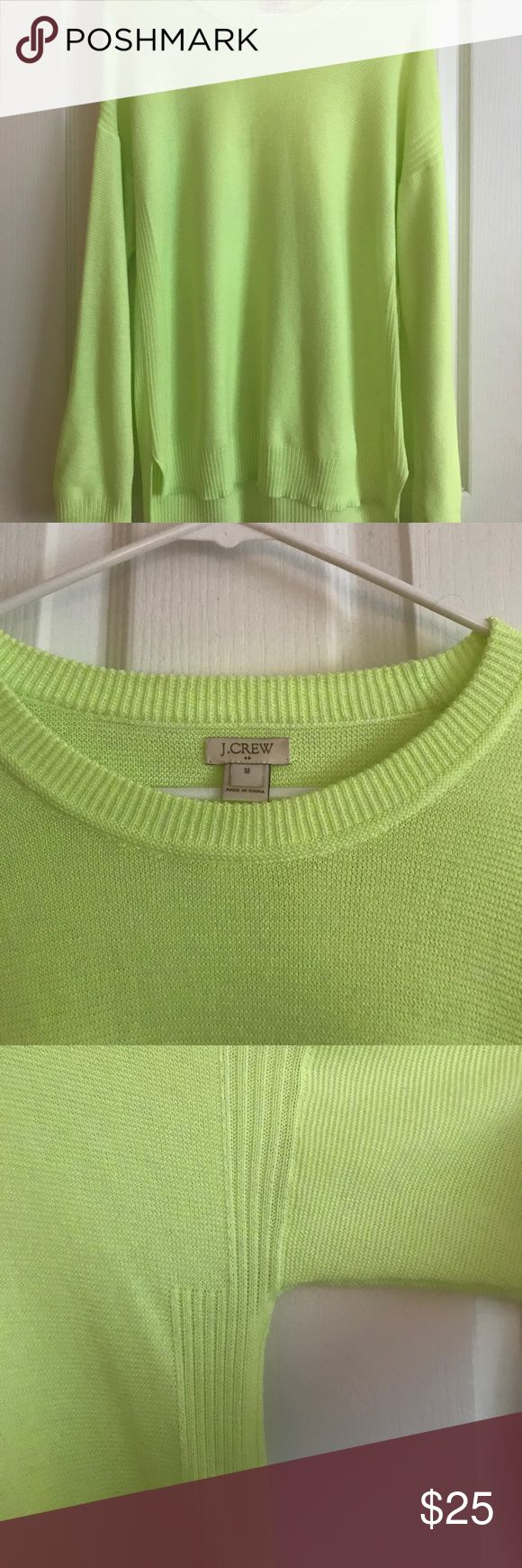 J Crew Sweater Neon yellow J Crew sweater. Size Medium. Like new- only worn a couple times. Slightly shorter in the front and longer in the back. Lightweight and great for fall. Long in the back to wear with leggings. J. Crew Sweaters Crew & Scoop Necks