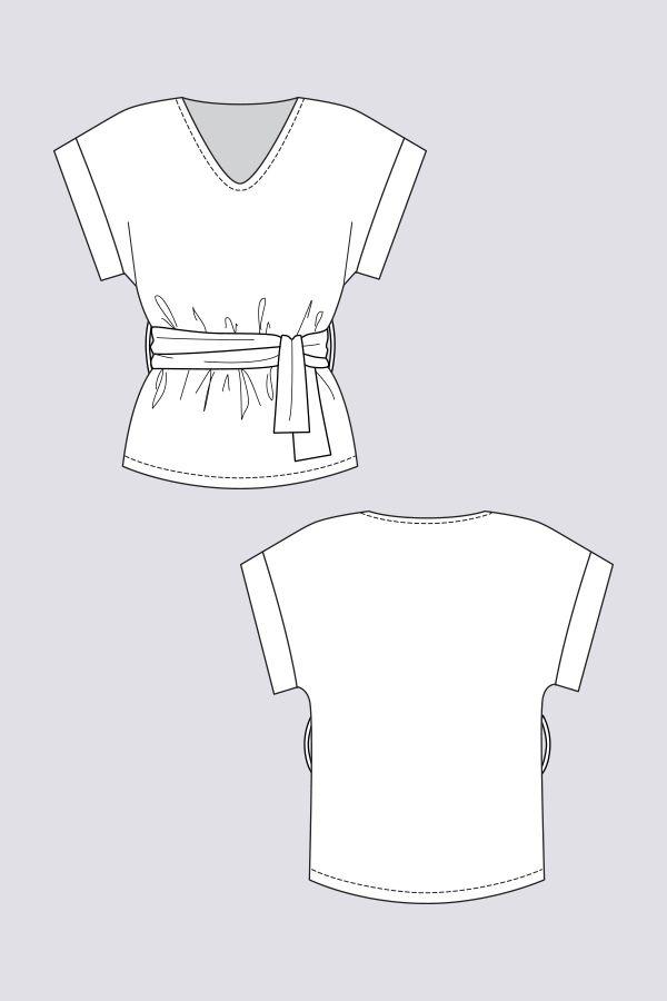 Sointu Kimono Tee - Named  loose-fitting T-shirt with kimono sleeves