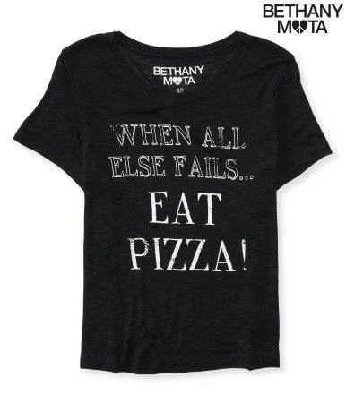 "My Eat Pizza Crop Graphic T says ""When All Else Fails... Eat Pizza!"" because, uh, TRUTH. Seriously, even on the worst day ever, I get super excited about pizza -- and this awesomely comfy tee! Wear it with high-waisted jeans and go for the extra topping. You deserve it, bae! Say cheese, xoxo Beth<br><br>Relaxed fit. Approx. length (S): 19""<br>Style: 3585. Imported.<br><br>100% rayon.<br>Hand wash/dry flat."