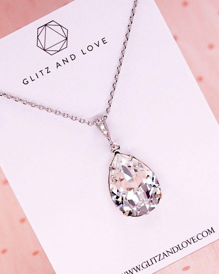 Swarovski Crystal Teardrop Necklace, Bridesmaid necklace, bridal shower gifts, brides necklace, wedding jewelry, www.glitzandlove.com