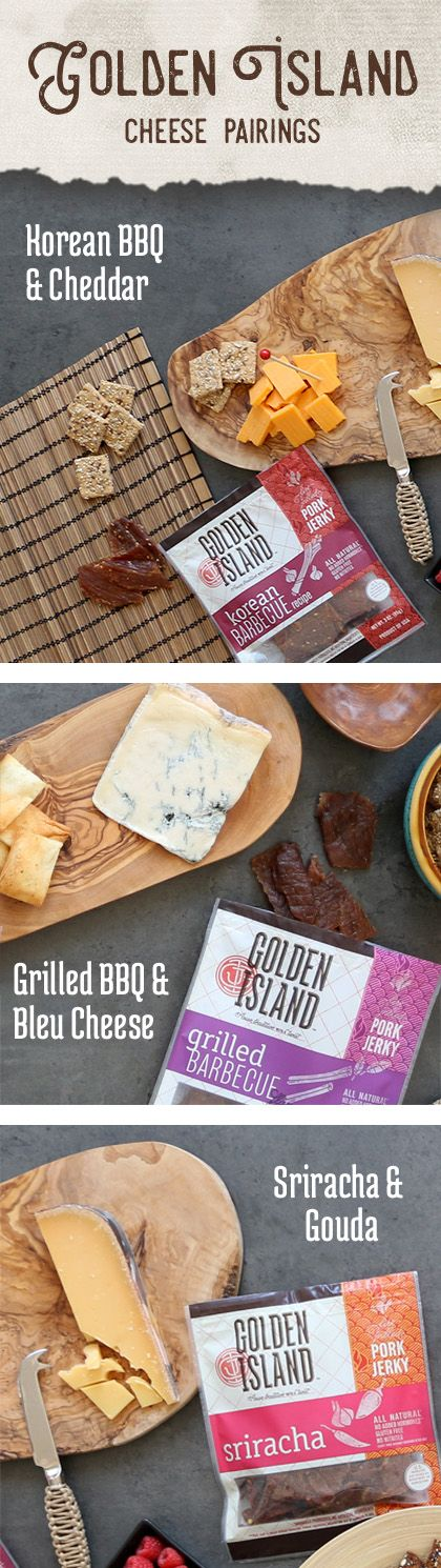 Take your appetizer one-step further with one, or all, of these amazing cheese and pork jerky pairings.   Pairings guide:  Korean BBQ Pork Jerky & Sharp Cheddar Sriracha Pork Jerky & Aged Gouda Grilled BBQ Pork Jerky & Gorgonzola
