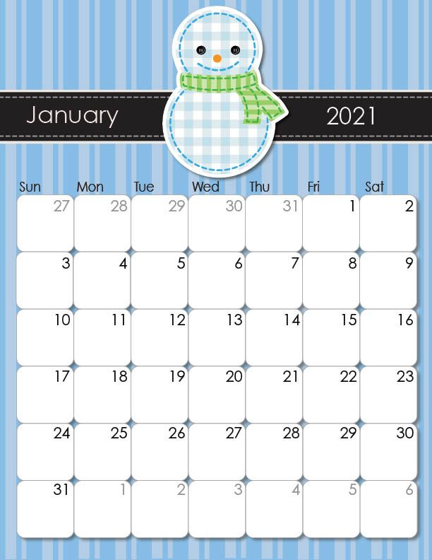 2020 and 2021 Whimsical Printable Calendars for Moms ...