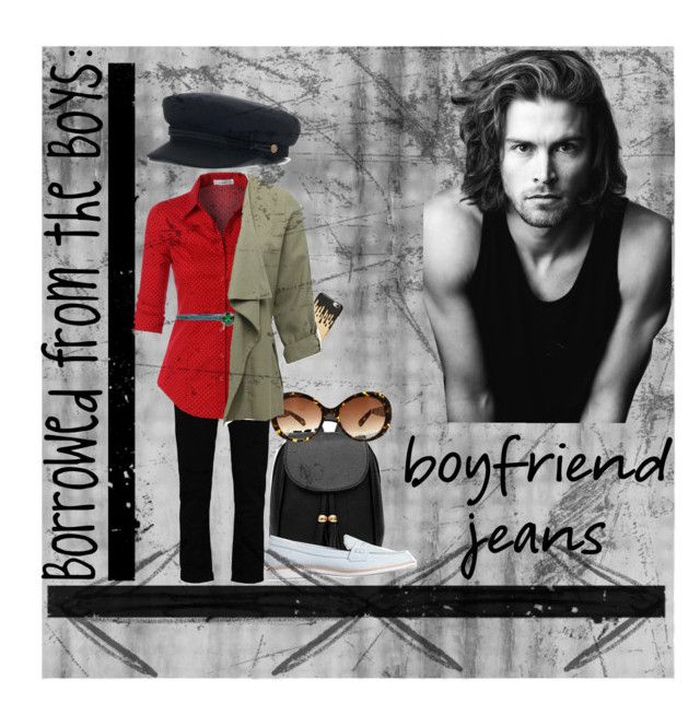 """Borrowed from the Boys: Boyfriend Jeans 2017"" by seana-routzahn on Polyvore featuring Boohoo, LE3NO, Missguided, Fornarina, Ashley Stewart, M&Co, Gap and Merrell"