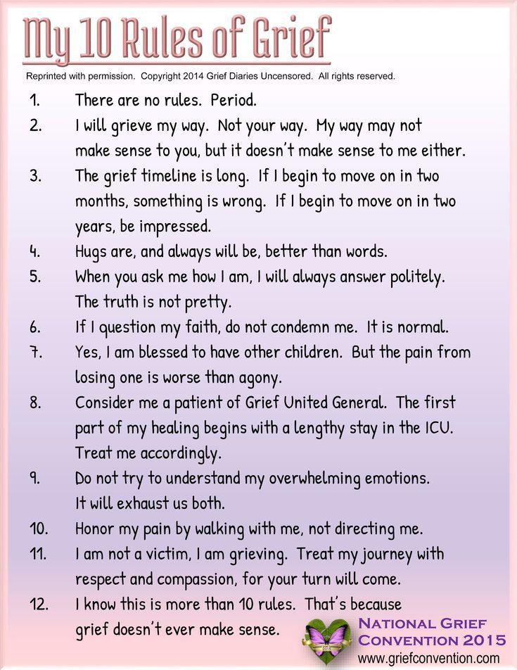My 10 Rules Of Grief Grief Therapy Grief Counseling Grief Healing