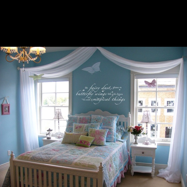 Love this quote on the wall: The fairy dust glows on butterfly wings... little girls dreams are made of magical things.  jh