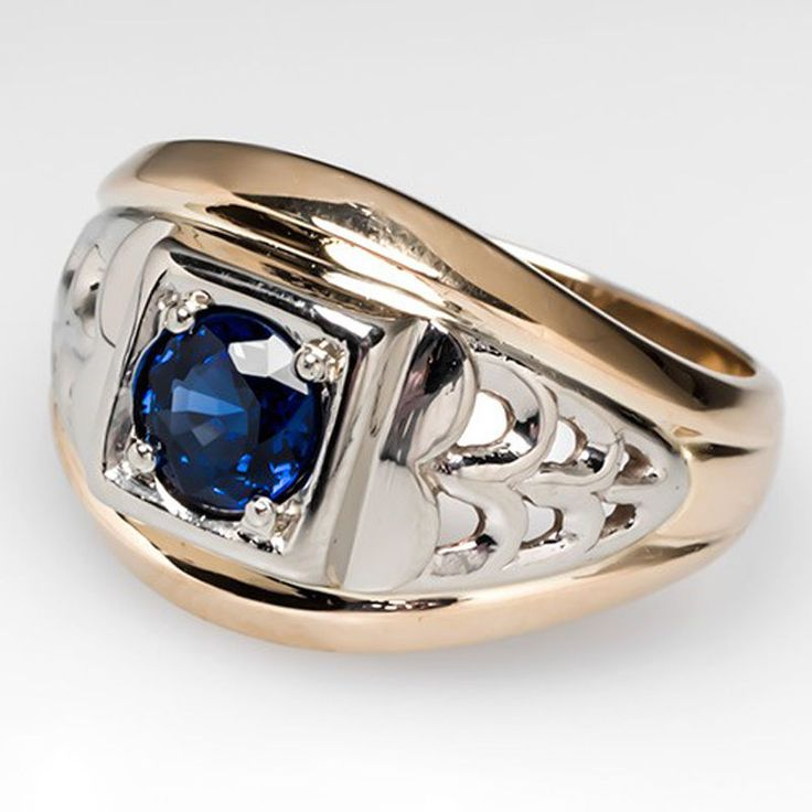 Solid 14K White Yellow Gold Natural Blue Sapphire Vintage Engagement Men's  Ring