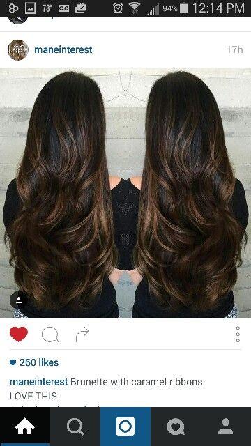 Rich brown hair with caramel highlight.... Beautiful!