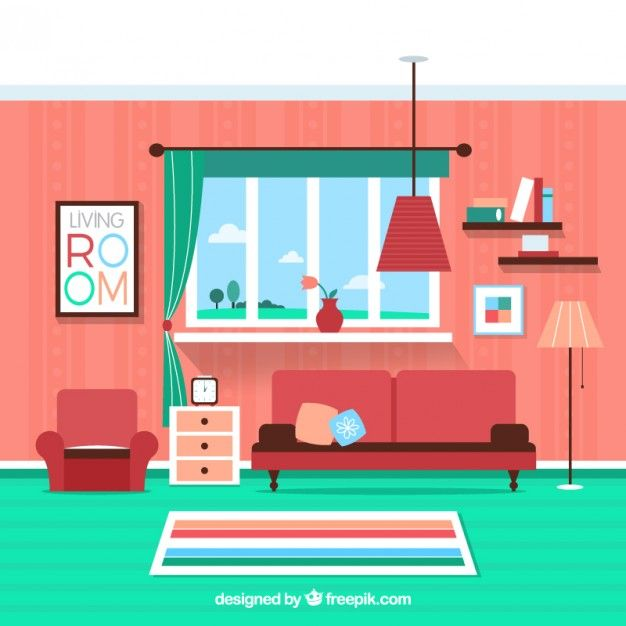 Colorful living room Free Vector