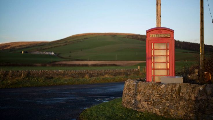 A lone red telephone box stands at the end of the road at Ettrick Bay on December 2, 2015 in Rothesay, Isle of Bute, Scotland. Pic: Christopher Furlong/Getty Images