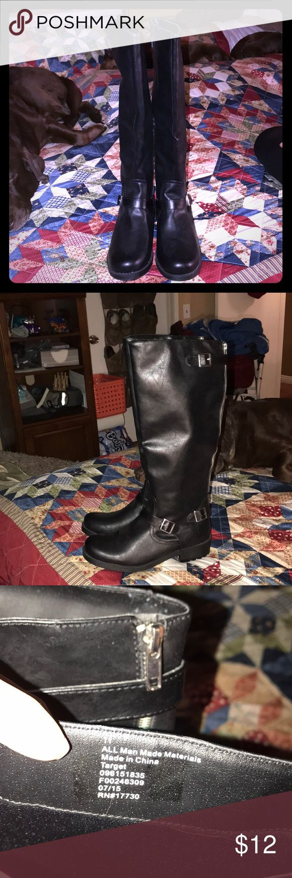 NWOT Target Boots Black W11 Brand NEW NEVER WORN Target boots black size 11✳️ZIPPER IN BACK IS FOR LOOKS NOT FUNCTIONAL...ZIPS ON INSIDE OF CALF✳️ target Shoes