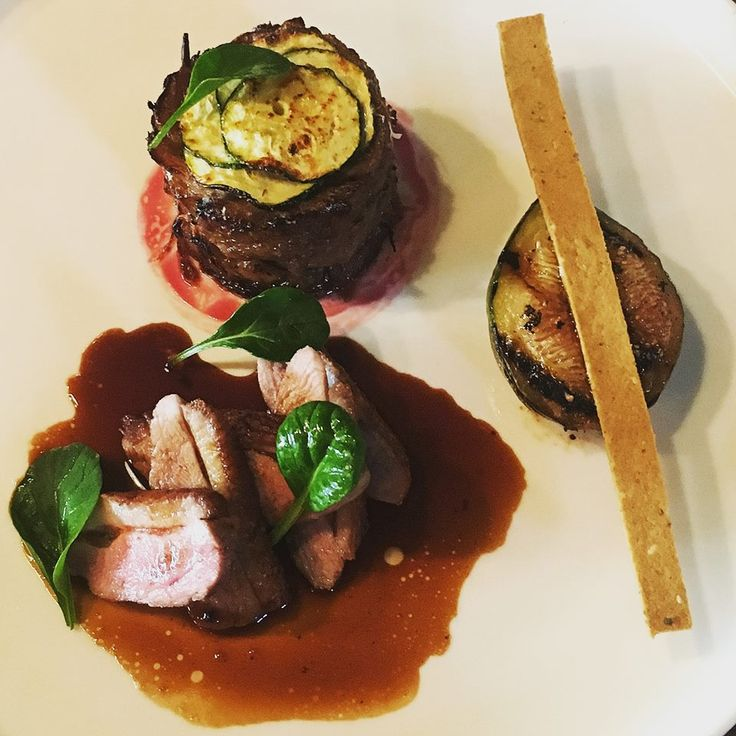 Cooler days call for hot dishes, duck breast with courgette tian and almond cracker. Thursday dinner sorted. Olive Restaurant http://www.oliverestaurant.co.nz/