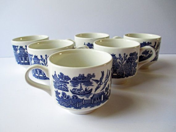 Vintage Blue and White Coffee Tea Cups Asian Scene by thechinagirl