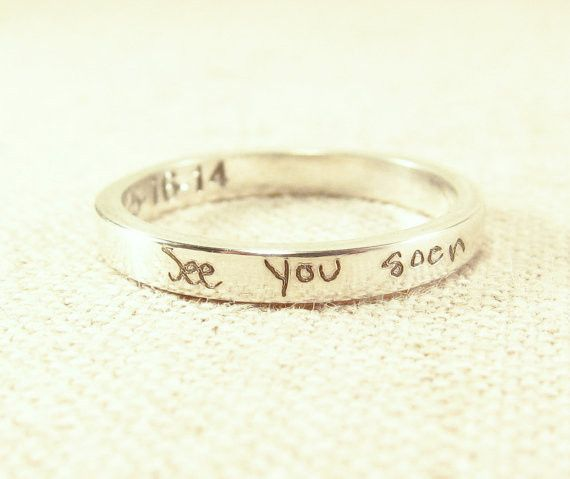 A super personalized ring! We engrave ACTUAL handwriting on the interior/exterior (or both!) of the ring, to make a wonderful keepsake. These are fantastic as wedding bands (we sell them in sizes this