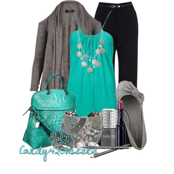 Teal & Gray Outfit
