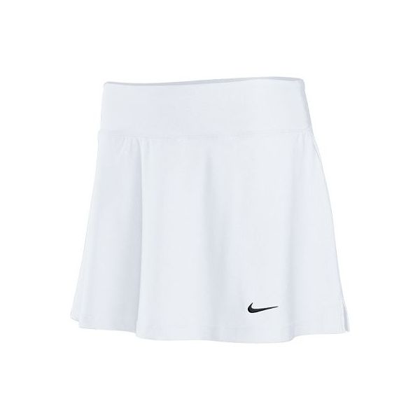 Nike Core Tennis Skirt Dri-FIT single knit solid skirt. 2.5 self-fabric waistband for comfort and mobility. Side slits for rangeof motion and embroidered Swoosh design trademark at lower left hem. Short hip width: 16.5,front skirt length: 13.25, back skirt length: 13.75 (size medium). FABRIC: 92% polyester/8% spandex. Sizes: $size$ Colors: $color$